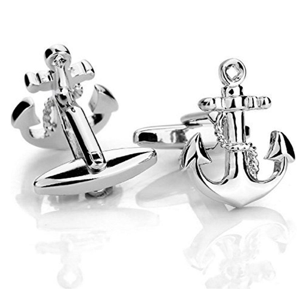 Cat Eye Jewels Men Cufflinks Silver Anchor Stud Cufflinks Men Vintage Boat Sailors Ocean Silver Shirt Nautical Wedding Business Gift for Mens Groom