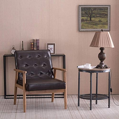 Binrrio Retro Lounge Wooden Arm Chair,Mid-Century PU Leather Upholstered Accent Wooden Arm Chair,Solid Wood Lounge Chair Sofa Seat for Living Room Bedroom Apartment Black