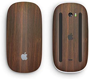 Dark Walnut Stained Wood - Design Skinz Premium Vinyl Decal for The Apple Magic Mouse 2 (Wireless, Rechargable) with Multi-Touch Surface