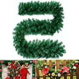 Fannybuy 9ft Christmas Garland Decorations Green Artificial Pine Deedle Wreath for Mantelpiece Door for Stairs Decoration Indoors Outdoors (1 Pack)