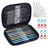 Zealor 23 Pieces Crochet Hooks Set, Knitting Knit Needles Weave Yarn Set with Large-eye Blunt Needles and Locking Stitch Markers