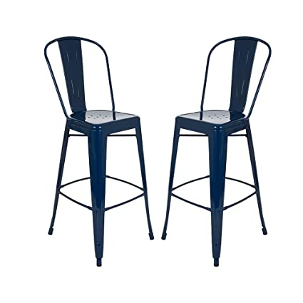 Glitzhome Vintage Metal Counter Bar Stools Navy Blue, Set Of Two