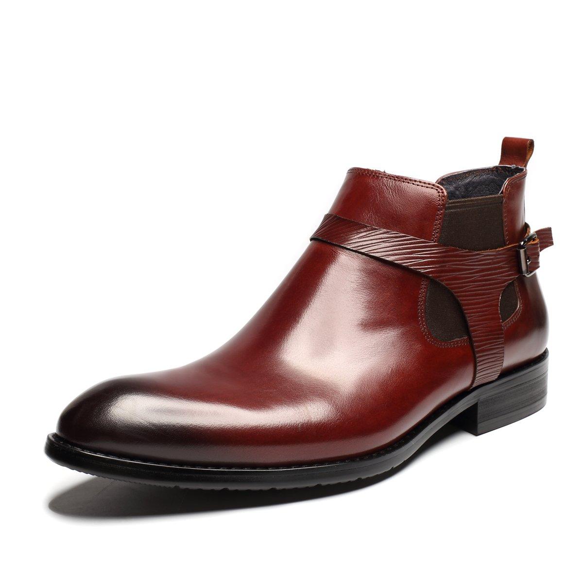 423e2cc6a403f ブーツ メンズ ビジネスシューズ 革靴 本革 チェルシーブーツ サイドゴア モンクストラップ ファッション ブラック レッド B077MKNJDM  24.5 cm