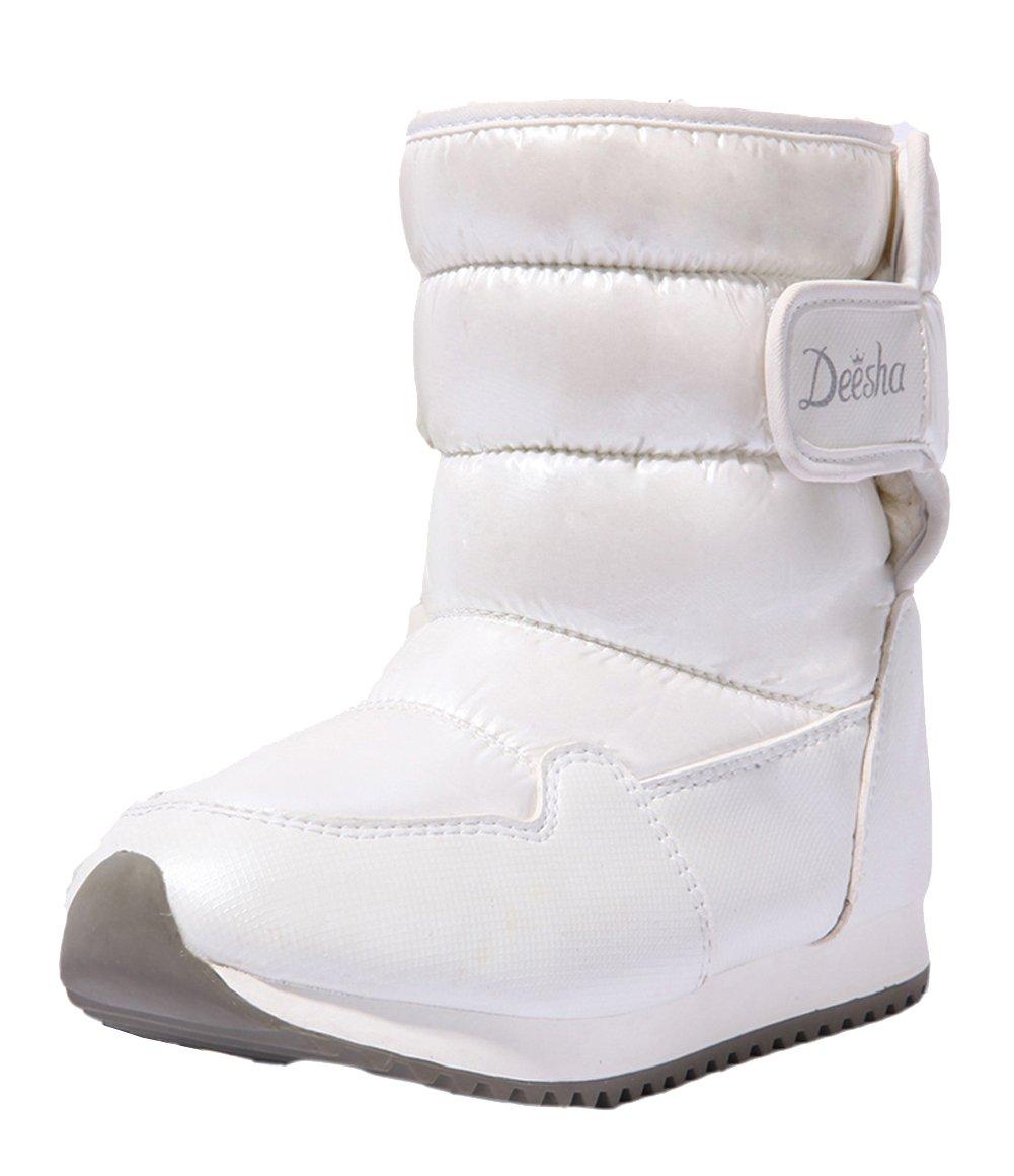 VECJUNIA Girls Winter Warm Plush Outdoor Waterproof Easy Mid Calf Snow Boots White 3 M US Little Kid