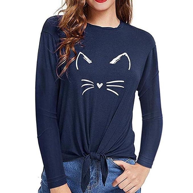 Manga Larga de Cuello Alto para Mujer Blusa de Vendaje con Estampado de Gatos Tops Camisetas