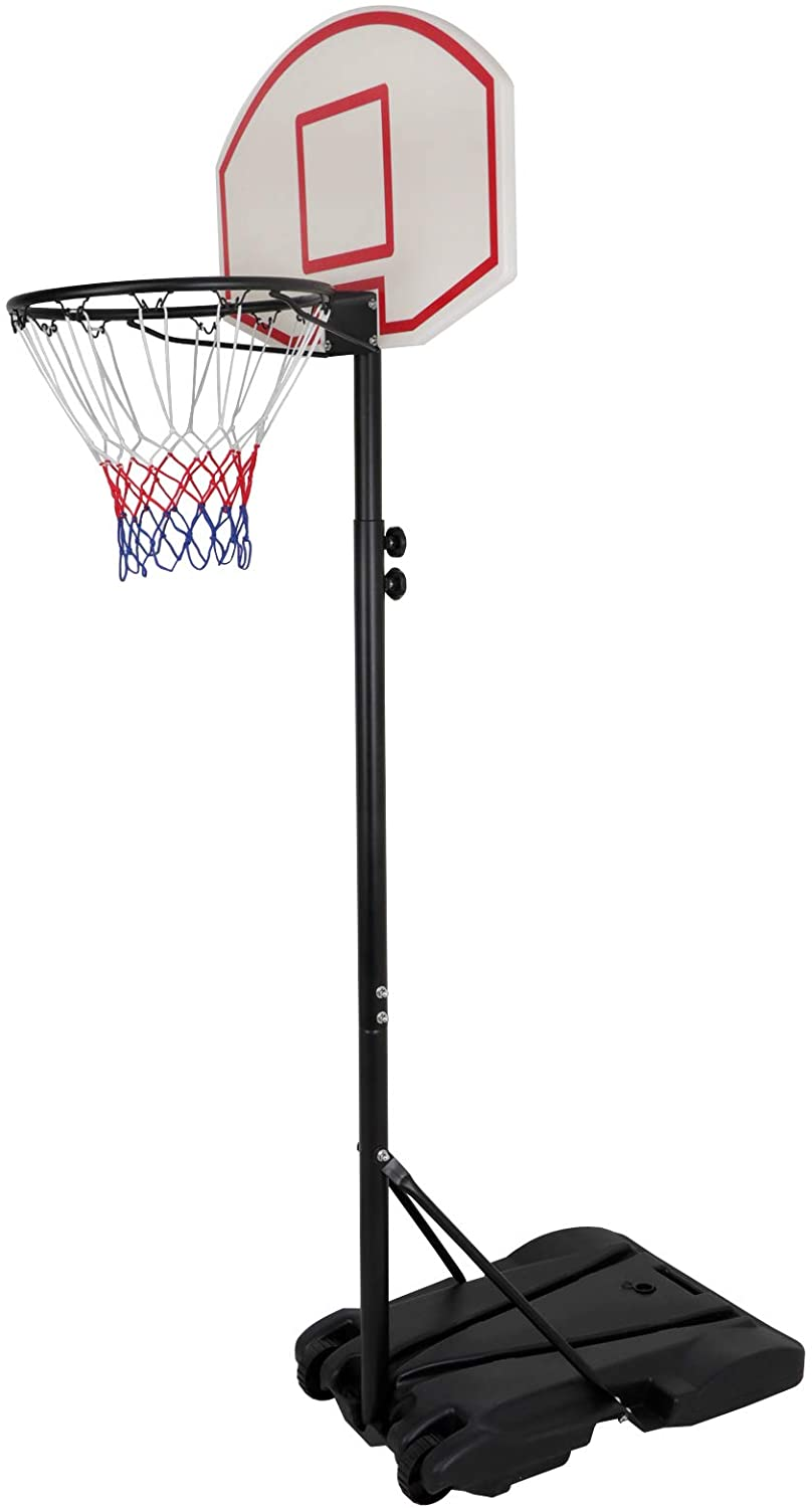 AYNEFY Basketball Hoop Mobile Basketball Stand Height Adjustable 230 to 305 cm Basketball Backboard Hoop Stand Set for Adults Children Outdoor Indoor Black