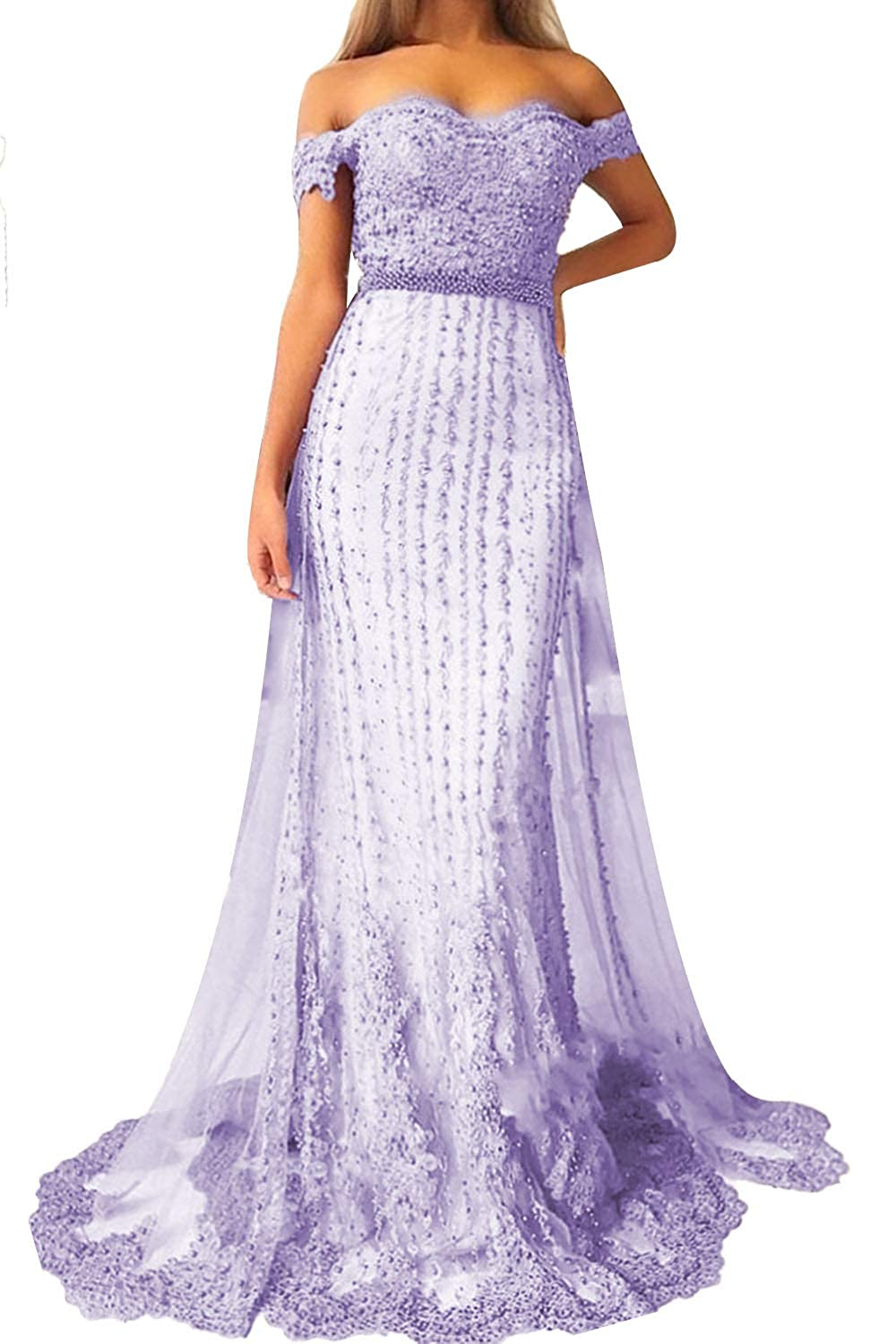 Lavender Promworld Women's Off The Shoulder Lace Applique Beaded Bridesmaid Dress Long Prom Dress with Train