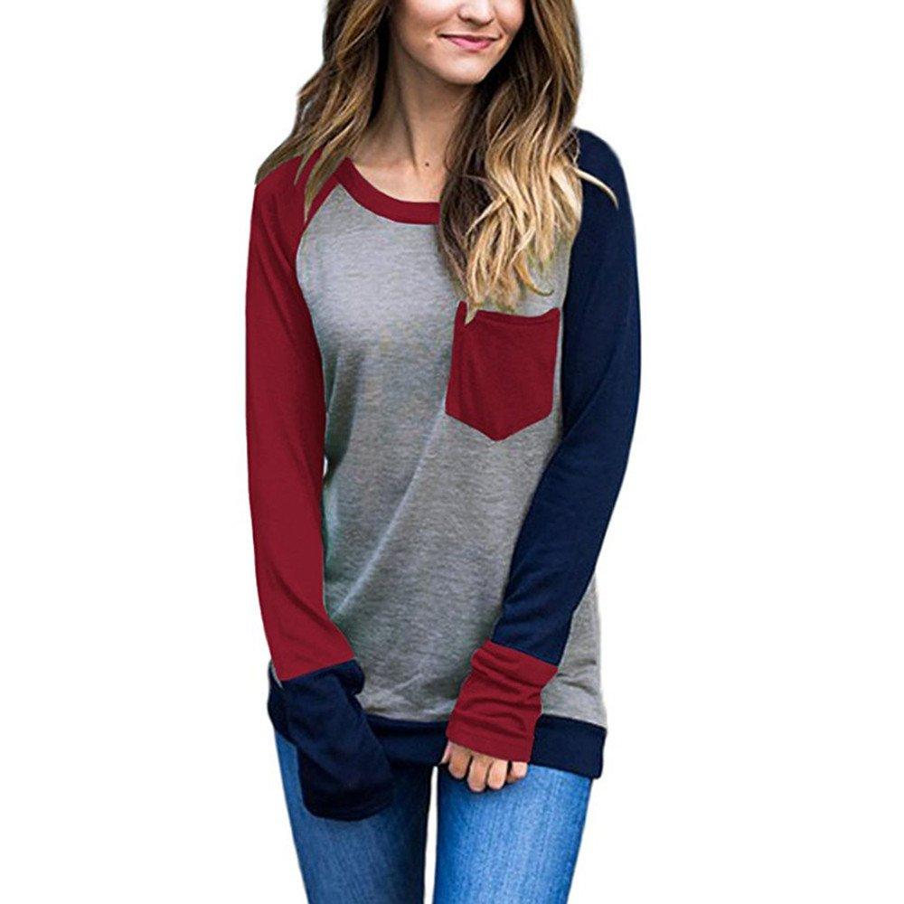 KEERADS Femme Chic Tee Shirt Manche Longue Casual Col Rond Épissage Couleur Poche Tops Blouse Tunique T-Shirt