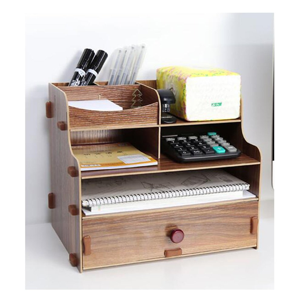 Bookcase Wooden Tabletop Tabletop Storage Boxes Desks Office Supplies Drawers File Storage Racks,Wood by ANHPI-bookcase (Image #4)