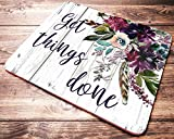 Purple Watercolor Floral Mouse Pad Inspirational Quote Get Things Done Mousepad Office Desk Accessories Decor for Women