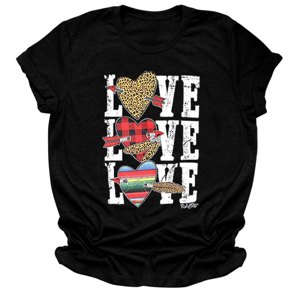 TiTCool Womens Valentines Day Graphic Tees Graphic Short Sleeve T-Shirt Tops Heart Printed Shirts Blouse