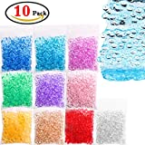 KeNeer 10Pack Fishbowl Beads - DIY for Crunchy Slime, Clear Vase Filler Beads, Kids Crafts for Party Decoration or Wedding (Plastic, 10 Colors)