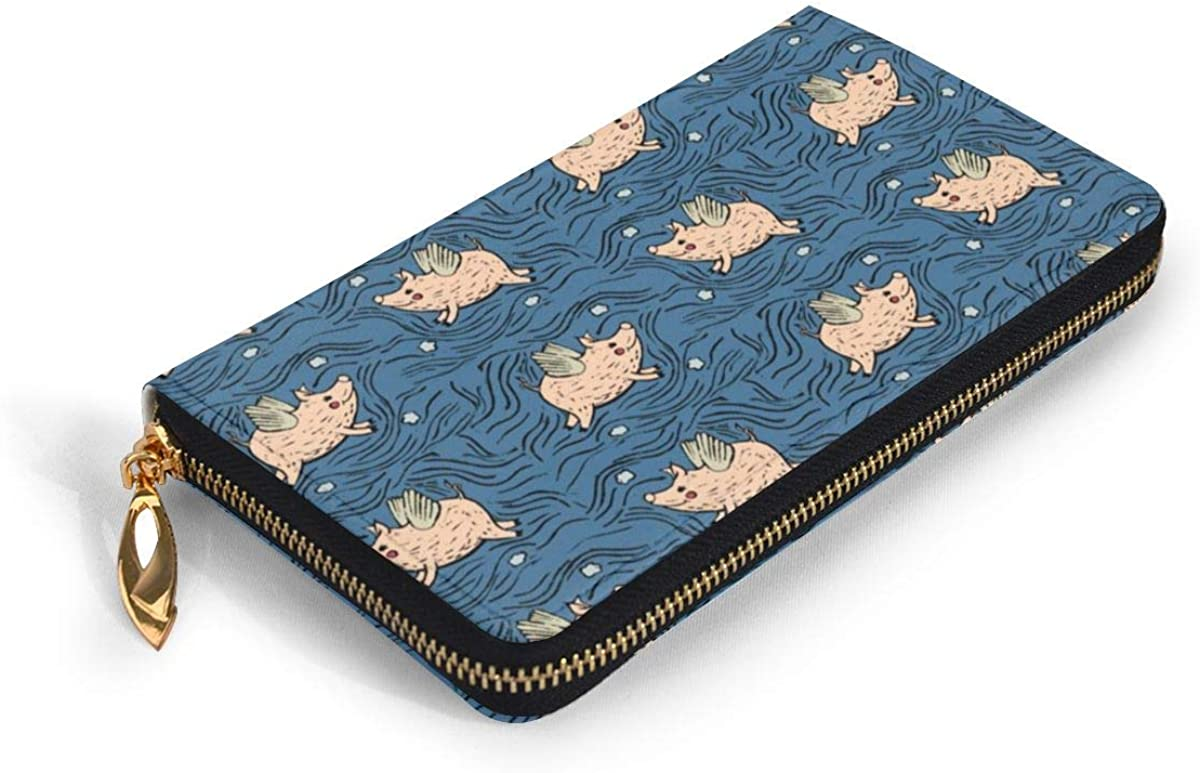 When Pigs Fly Blue Wallets For Men Women Long Leather Checkbook Card Holder Purse Zipper Buckle Elegant Clutch Ladies Coin Purse