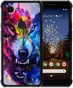for Google Pixel 3a XL Case Space Galaxy Nebula Wolf Pattern, ABLOOMBOX Slim Thin Anti-Scratch Flexible Bumper Case with Reinforced Corner for Google Pixel 3a XL Phone Case (2019)