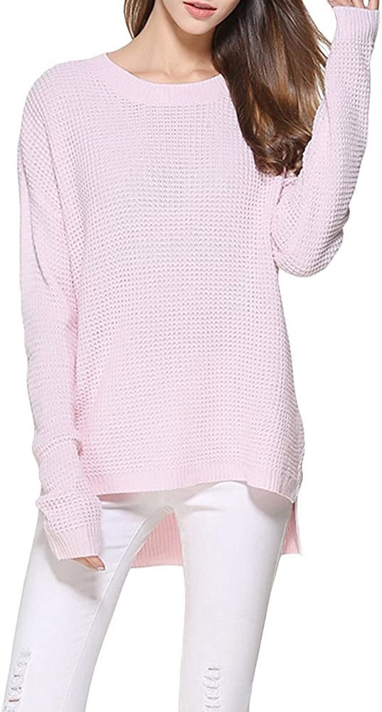 Pink X/&F Womens Loose Cable Knit Crew Neck Sweater Long Sleeve Pullover Knitwear 16