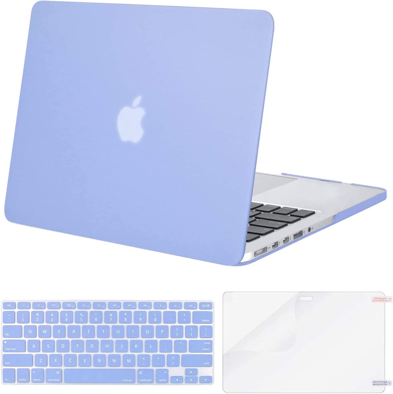 MOSISO Case Only Compatible with Older Version MacBook Pro Retina 13 inch (Models: A1502 & A1425) (Release 2015 - end 2012), Plastic Hard Shell Case & Keyboard Cover & Screen Protector, Serenity Blue