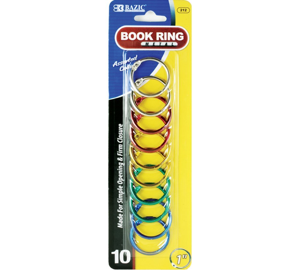 BAZIC 1'' Assorted Color Metal Book Rings (10/Pack) (Case of 144)