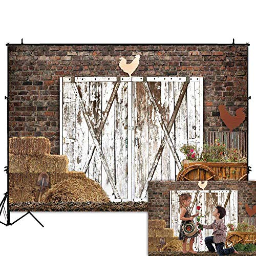 Funnytree 7x5FT Durable Fabric Autumn Farm Door Photography Backdrop for Children Adult Birthday Party Banner Rustic Warehouse Barnyard Background Photo Booth