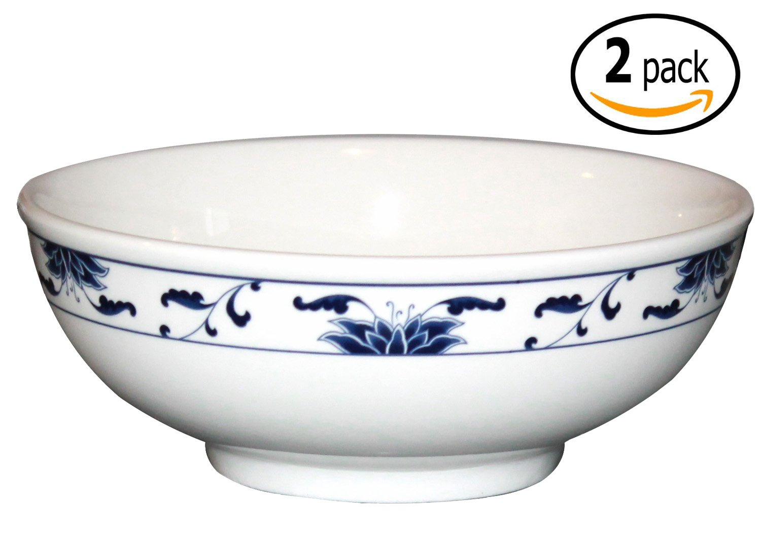 Cameo China Porcelain Bowls with Pan Scraper, Blue Lotus Design, White Ivory, Set of 2 (8.50 Inch, 48 Ounce)
