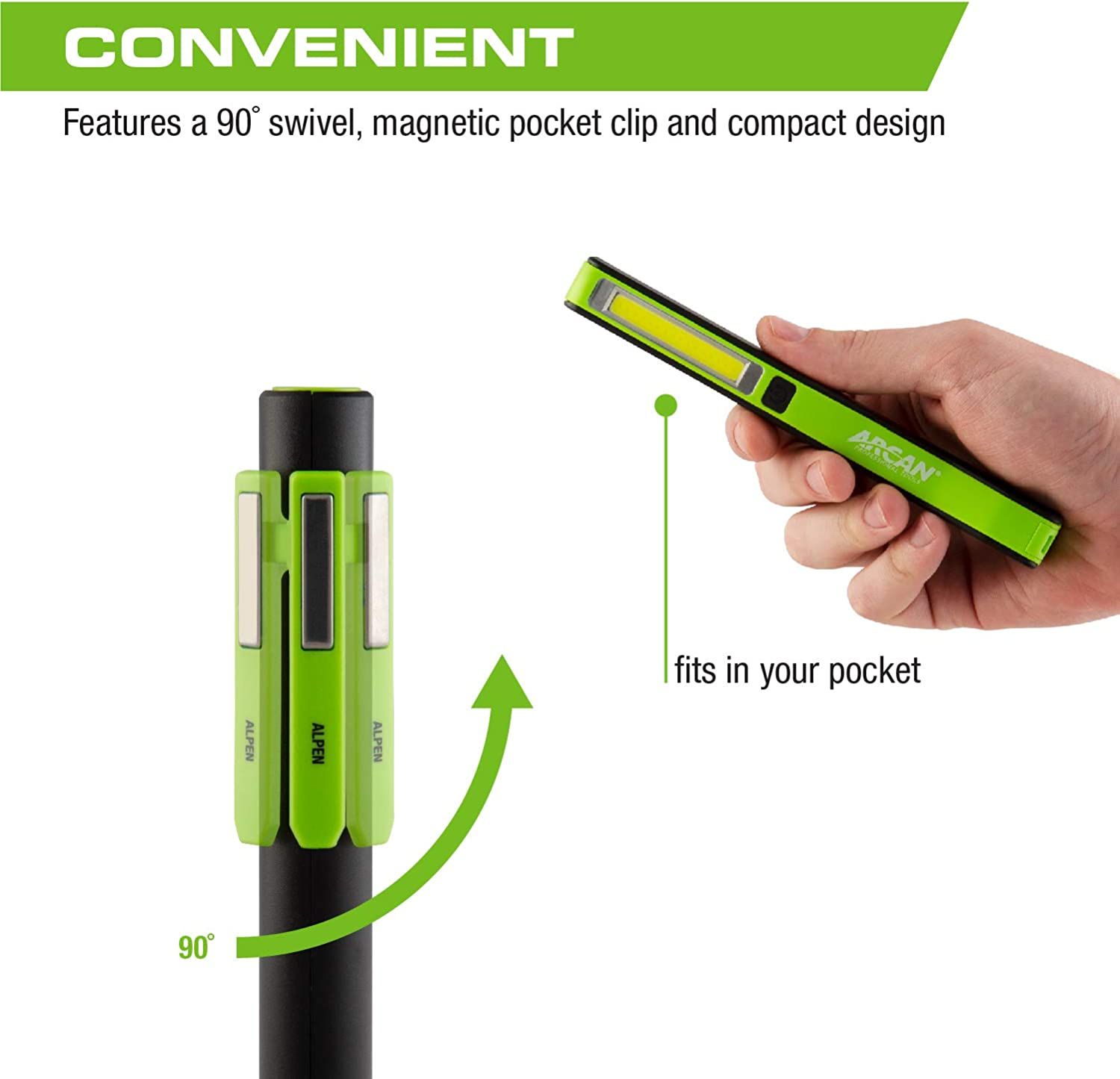 ALPEN Arcan 200-Lumens Rechargeable Pen Flashlight with USB Port