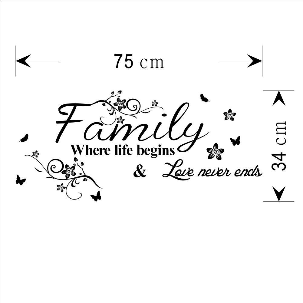 Wandtattoo Wandsticker Deko Zimmer Aufkleber Familie Family Home Wand Sprche Geschenk Amazonde Kche U Haushalt With Tattoo Englisch