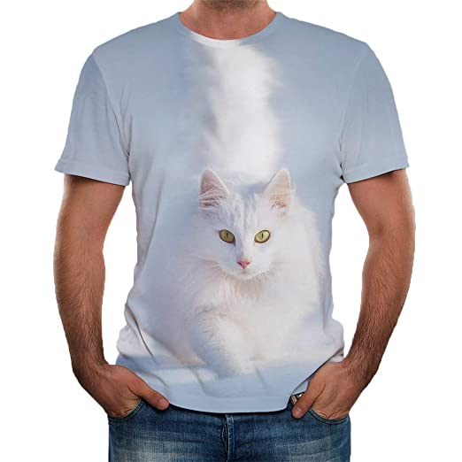 3cb87c0a Shirt for Men, F_Gotal Men's T-Shirts Summer Short Sleeve Fashion 3D Cat Print  Casual Loose Tee Shirts Blouse Tops at Amazon Men's Clothing store: