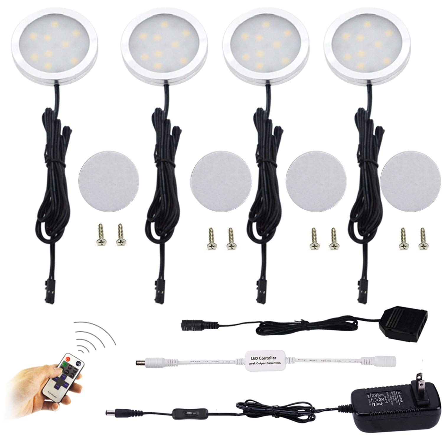 Warm White 2700K AIBOO LED Under Cabinet Lighting Kit,4X2W LED Puck Lights with RF Wireless Dimmable Controller and US Plug for Kitchen Lighting Accent Lighting