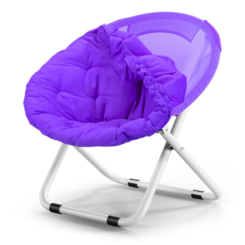 Washable folding chair / adult moon chair / sun chair / lazy chair / sun lounger / folding chair / round chair / sofa chair / solid color Home folding chair / lazy couch / ( Color : Purple )