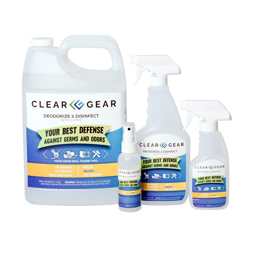 Clear Gear Disinfecting Spray Family Pack (1 - Gallon Bottle, 1-24 Ounce Bottle, 1-8 Ounce Bottle and 1-4 Ounce Bottle) - 5-in-1 - Protects Your Family and Kills The Odors