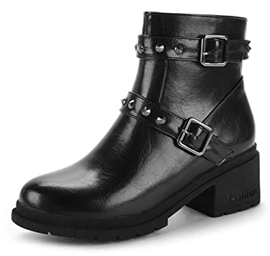40c75dc5bee4b Amazon.com | SFNLD Women's Casual Ankle High Zip Up Two Buckle with Rivet  Round Toe Mid Chunky Heel Daily Shoes | Ankle & Bootie