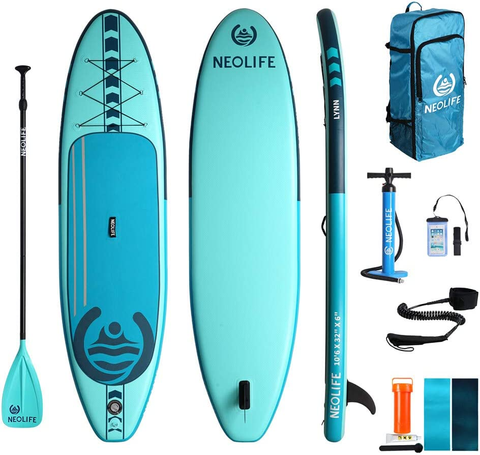 Neolife Inflatable Stand Up Paddle Boards,10.6 Inches Long 32 Inches Wide 6 Inches Thick,with ISUP Package Waterproof,Repair Kit,Paddle and Hand Pump,Non-Slip Deck Standing Boat for Youth and Adult