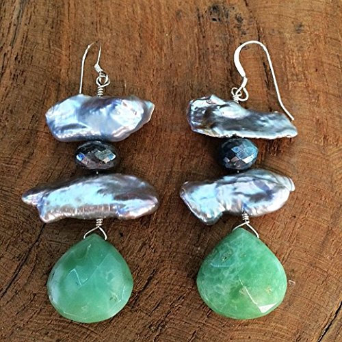 - Baroque Pearl Earrings with Chrysoprase Mystic Labradorite and Sterling Silver