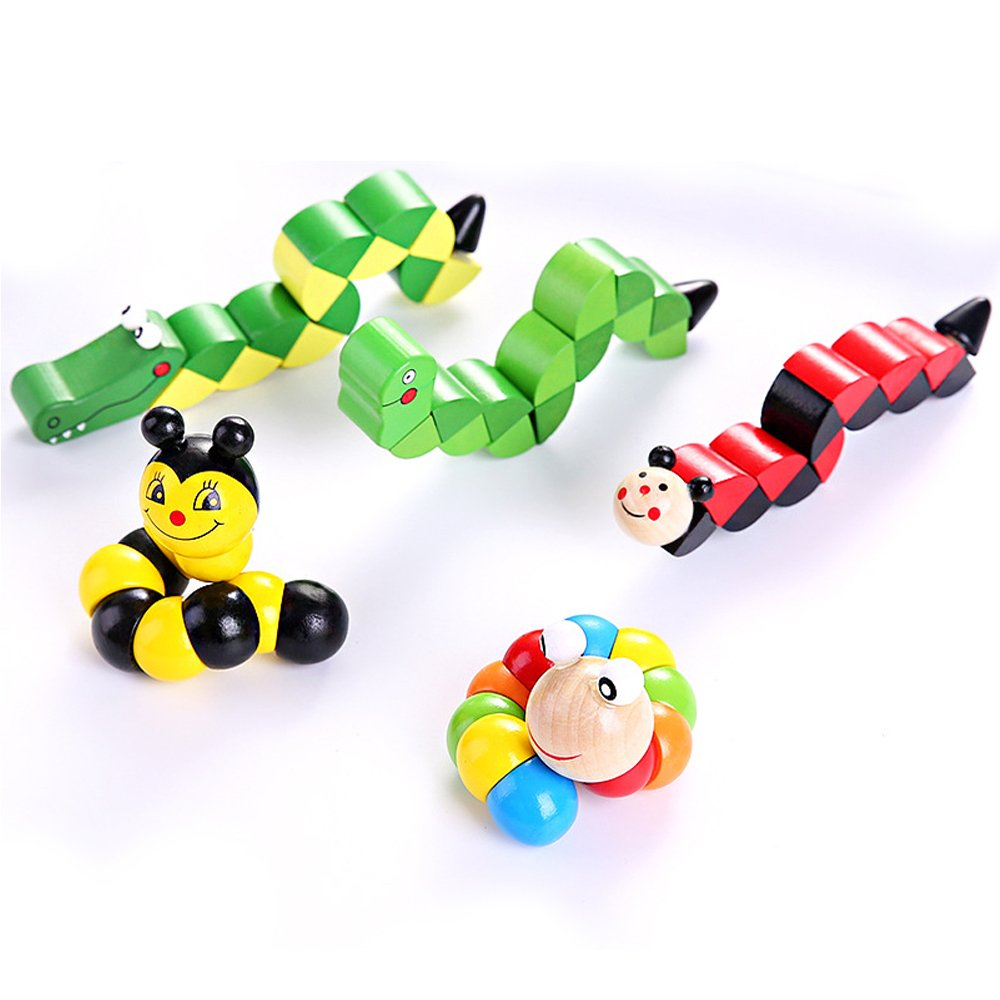 LiKee 5PCS Toddlers Toys, Cute Wooden Animal Transformer Toys, Great Party Favor Gift and Carnival Prize for Kids Age 1-5 Boys and Girls