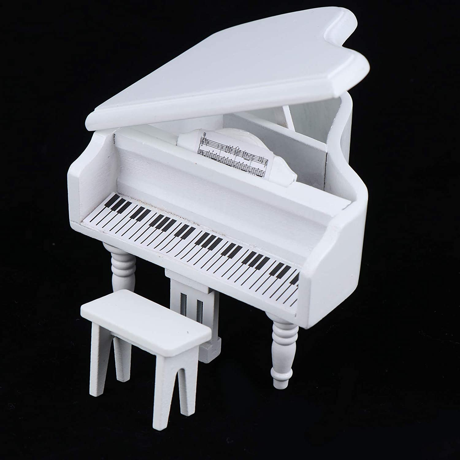 Haomian 1:12 Mini Dollhouse Piano Dollhouse Miniature White Piano with Music Stool Musical Instrument Ornament Dollhouse Model Home Decoration Doll House Furniture Accessories