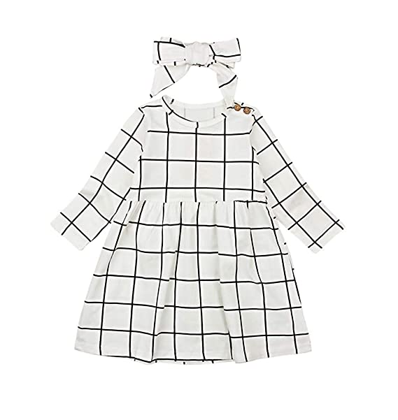 Amazon MILWAY Infant Baby Girls Beautiful Button Plaid Long Sleeve Dress with Classic Bowknot Headband $14.99