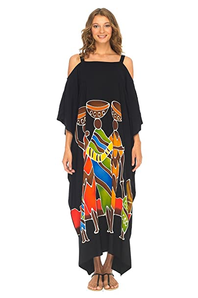 Amazon.com: SHU-SHI Kaftan - Vestido largo de playa con ...