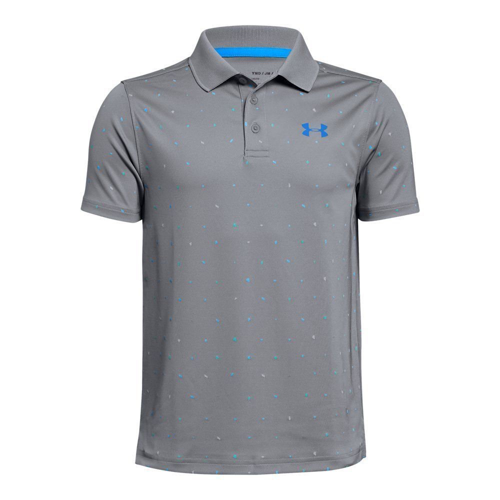 Under Armour Boys' Performance Novelty Polo, Steel (035)/Blue Circuit, Youth X-Large