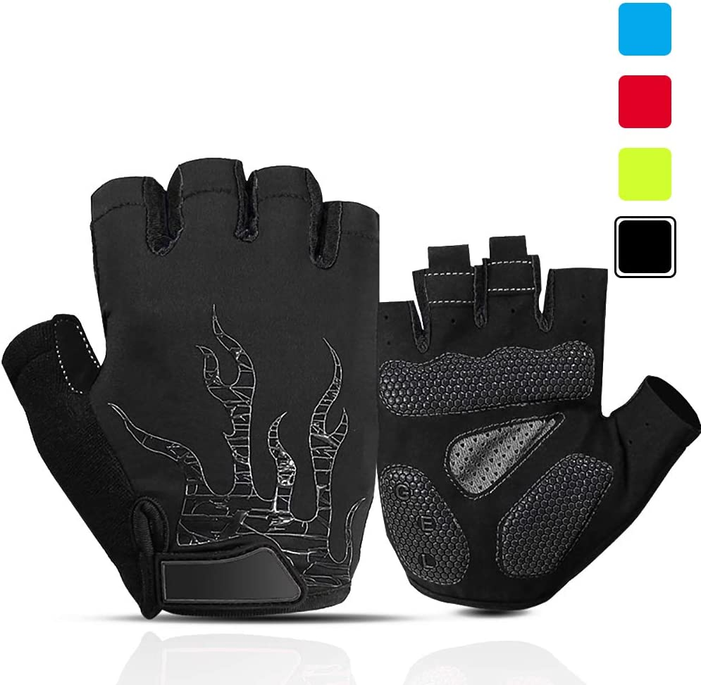 iaoja Mens Cycling Gloves, Gel Pad Shock-Absorbing Anti-Slip Breathable Biking Gloves Half Finger Motorcycle Mountain Bike Gloves for Men Women