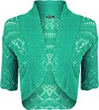 WearAll Womens Knitted Bolero Short Sleeve Shrug - Green - 4-6