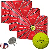 Callaway Golf 2018 Chrome Soft Yellow Golf Balls (3 Dozens) + 1 Custom Ball Marker Clip Set (US Flag)