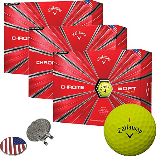 (Callaway Golf 2018 Chrome Soft Yellow Golf Balls (3 Dozens) + 1 Custom Ball Marker Clip Set (US)