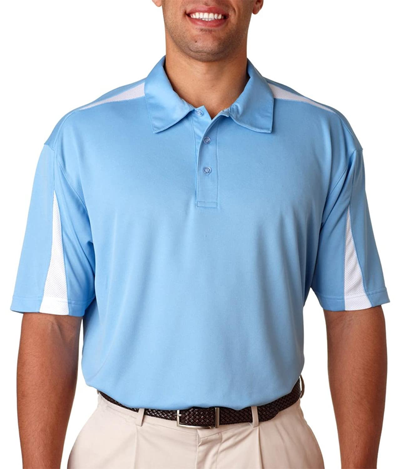 UltraClub Adult Cool - Dry Sport Polo - Columbia Blue/ White - L
