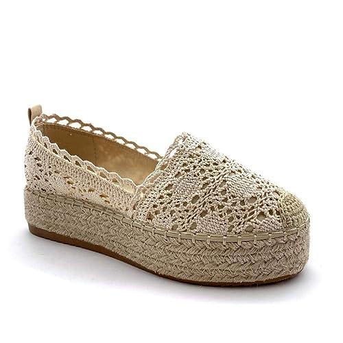 Angkorly - Zapatillas Moda Alpargatas Plataforma romántico Mujer Encaje con Paja tacón Plano 4 CM: Amazon.es: Zapatos y complementos
