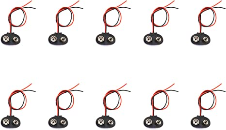 RuiLing 10-Pack DC 9V Battery Clip 9V Battery Clamp Battery Button Holder T-Type Buckle Connector with 5.9 Inch Lead Wire