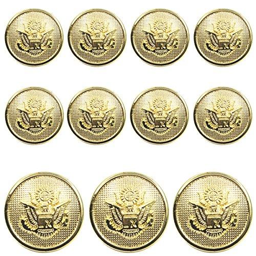 11 Pieces Metal Blazer Button Set - Eagle Badge - For Blazer, Suits, Sport Coat, Uniform, Jacket (Gold) (Large Eagle Gold)