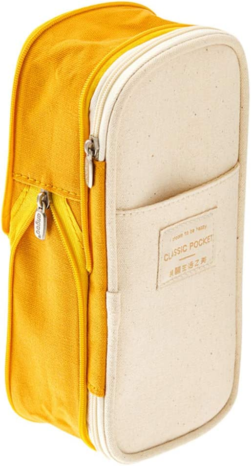 Fitfulvan Color Matching Large Capacity Pencil Case,Canvas Pencil Bag Multifunctional Zipper School Portable