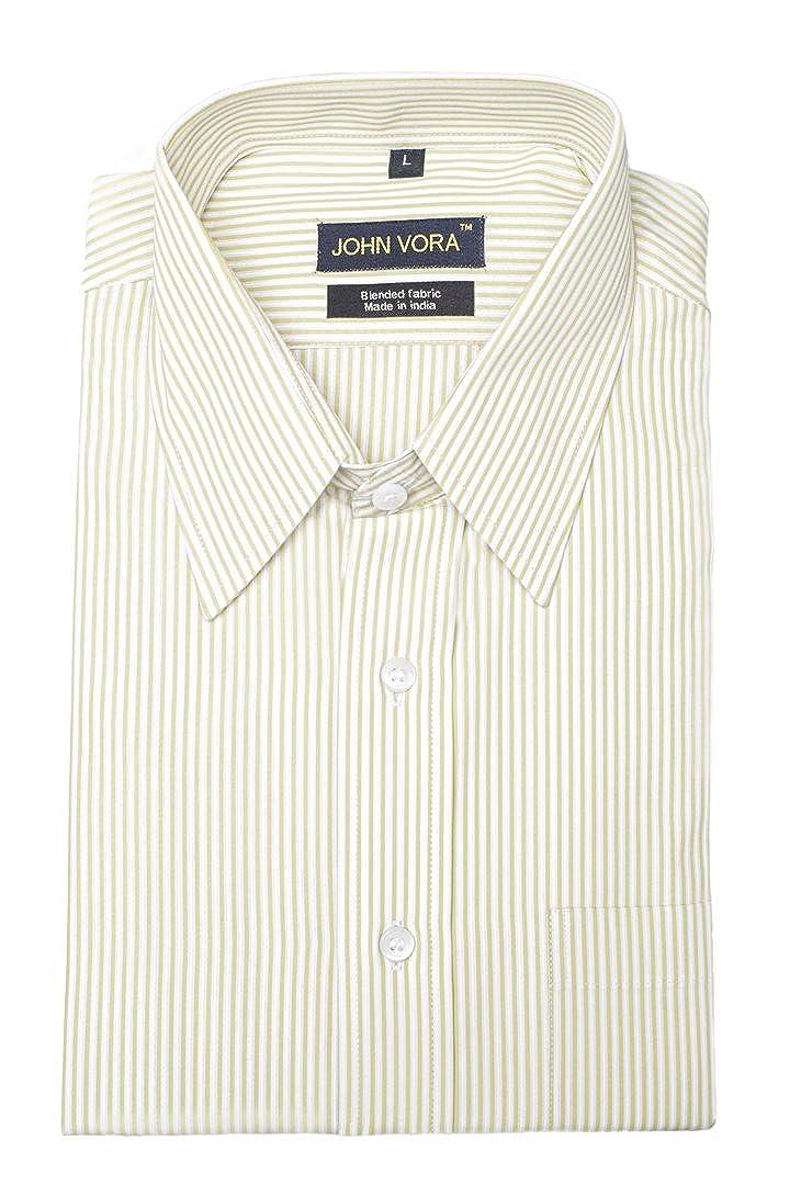 Medium John Vora Yellow and White Stripes Regular Shirt