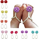 DUOPHY 7 Pairs Baby Girls Pearl Barefoot Foot Flower Beach Sandals