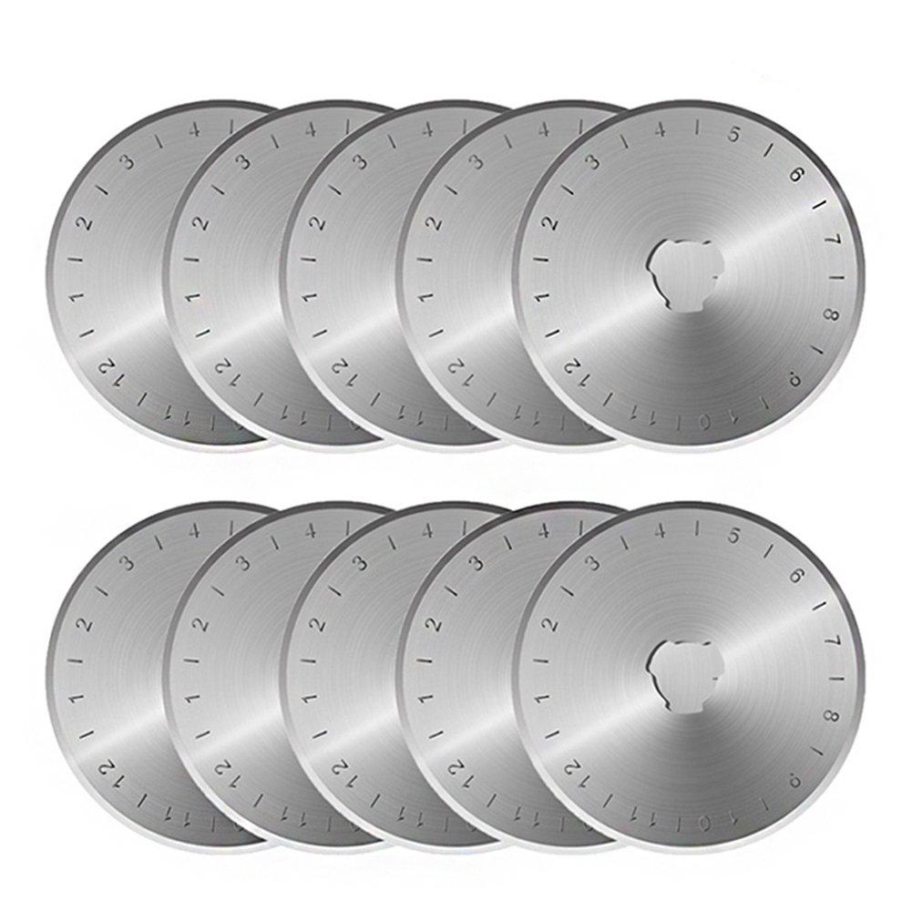 Rotary Cutter Blades 45mm 10 Pack by KISSWILL, Fits Fiskar, OLFA, Martelli, Dremel, Truecut 45mm Rotary Cutter Replacement, Sharp and Durable