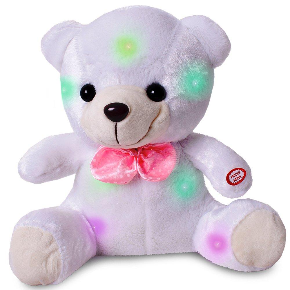 TE-Trend Plüsch Stofftier LED leuchtender Schlaf Teddybär Bär 30cm Kuscheltier Baby Kleinkind Einschlafhilfe weiß TE-Importe